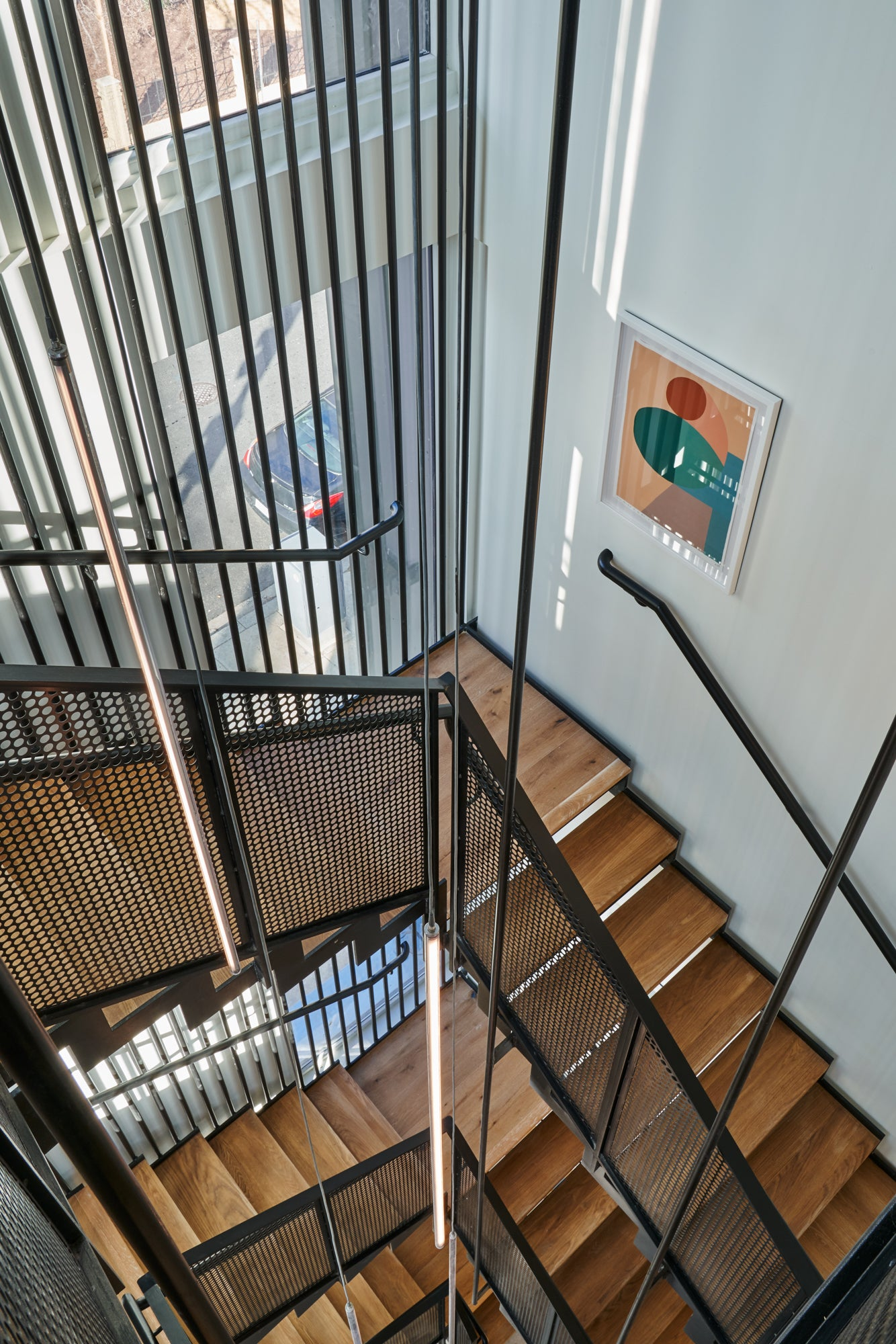contemporary staircase looking down