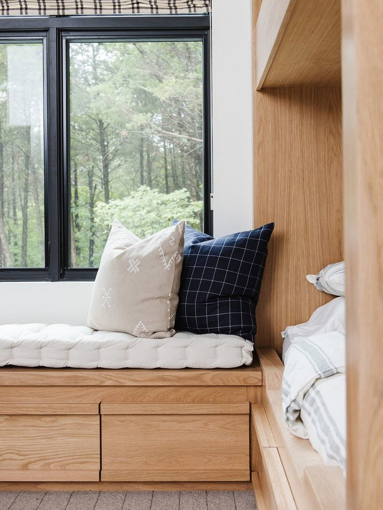 wood bunk beds with L-shaped bench