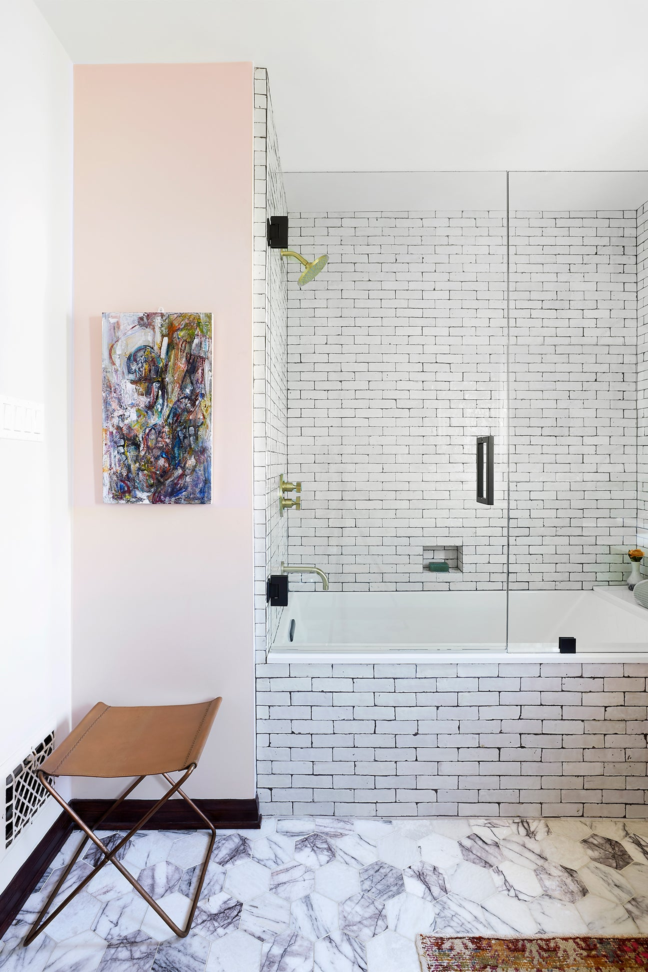 pink bathroom white zellige tiles