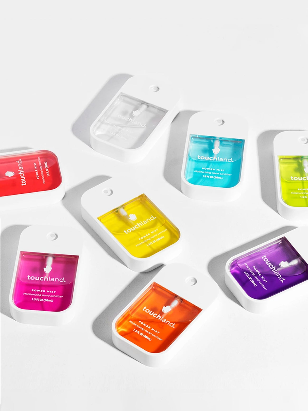 Arrangement of colorful hand sanitizers