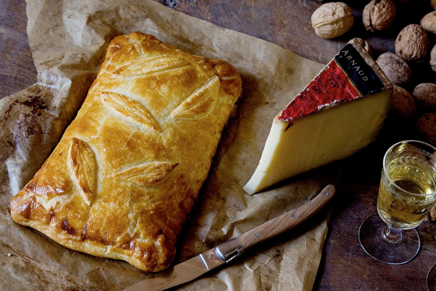 puff pastry with cheese on board