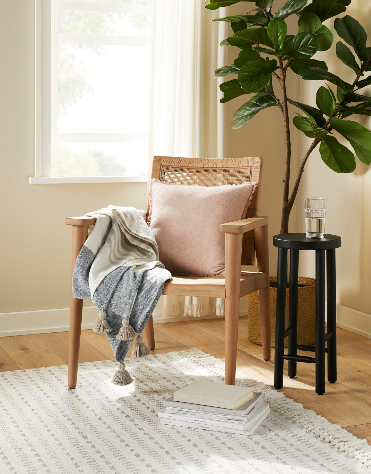 chair with plant behind it