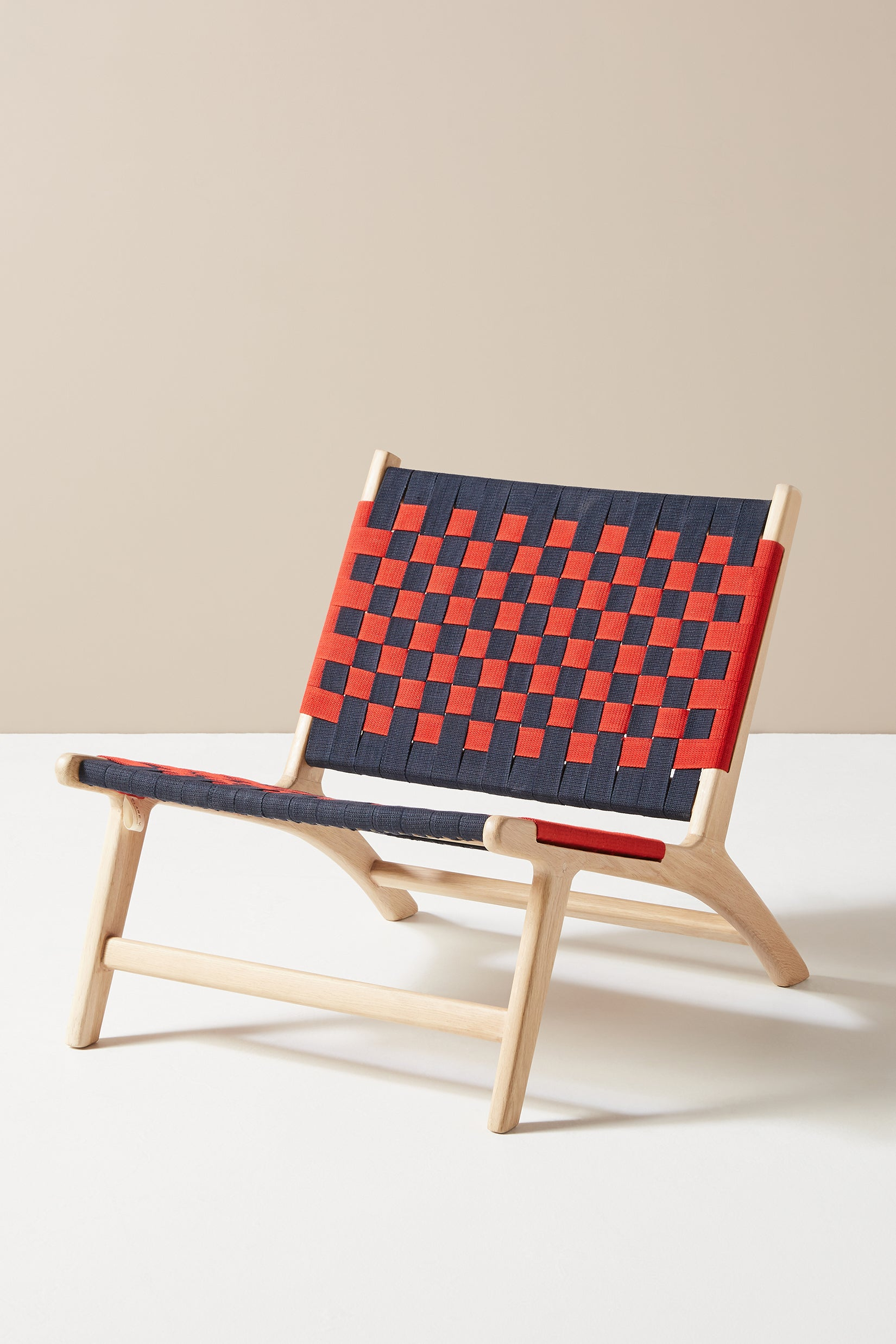 blue and red checkered chair