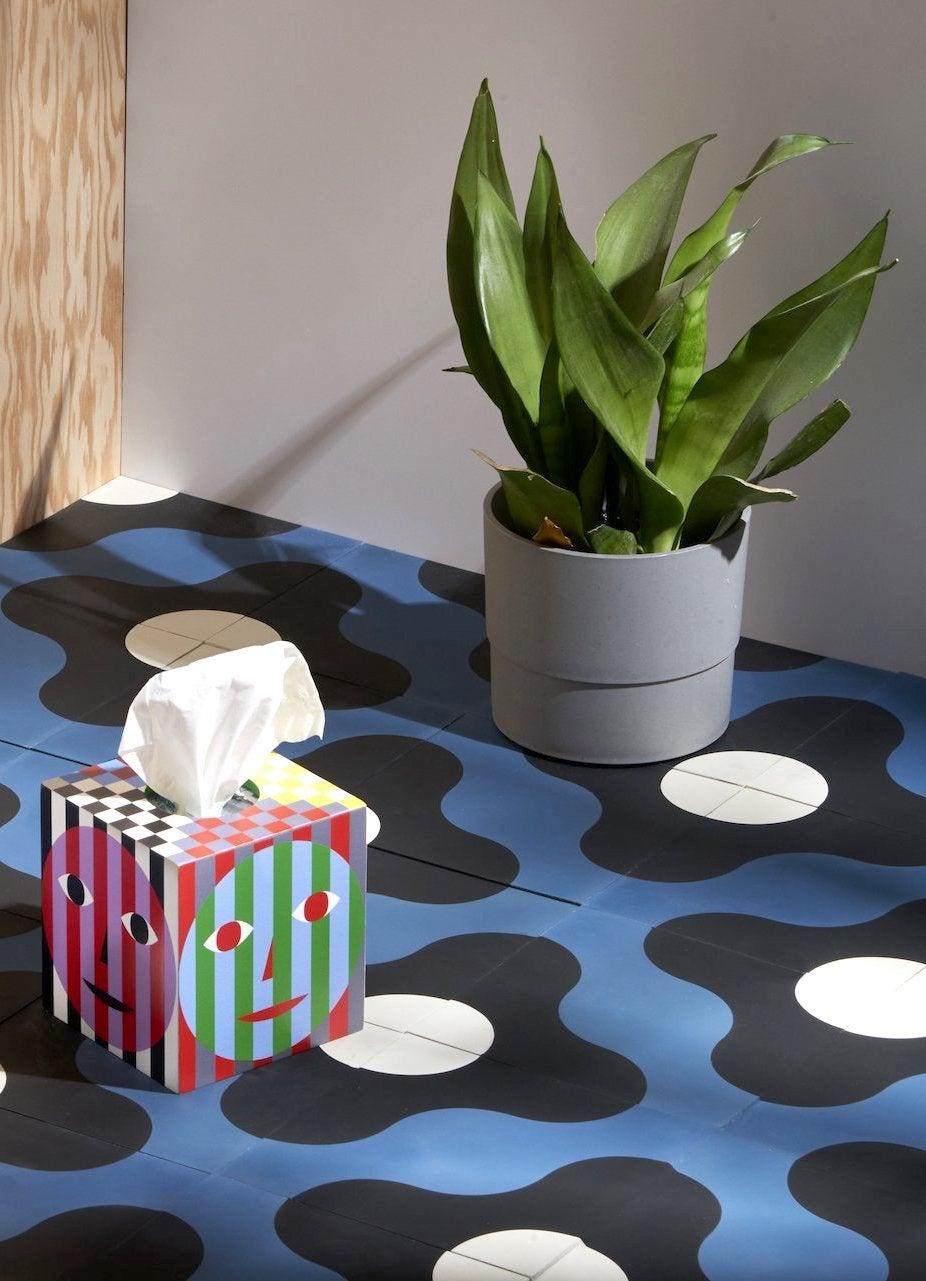 Blue, black, and white Dusen Dusen tile