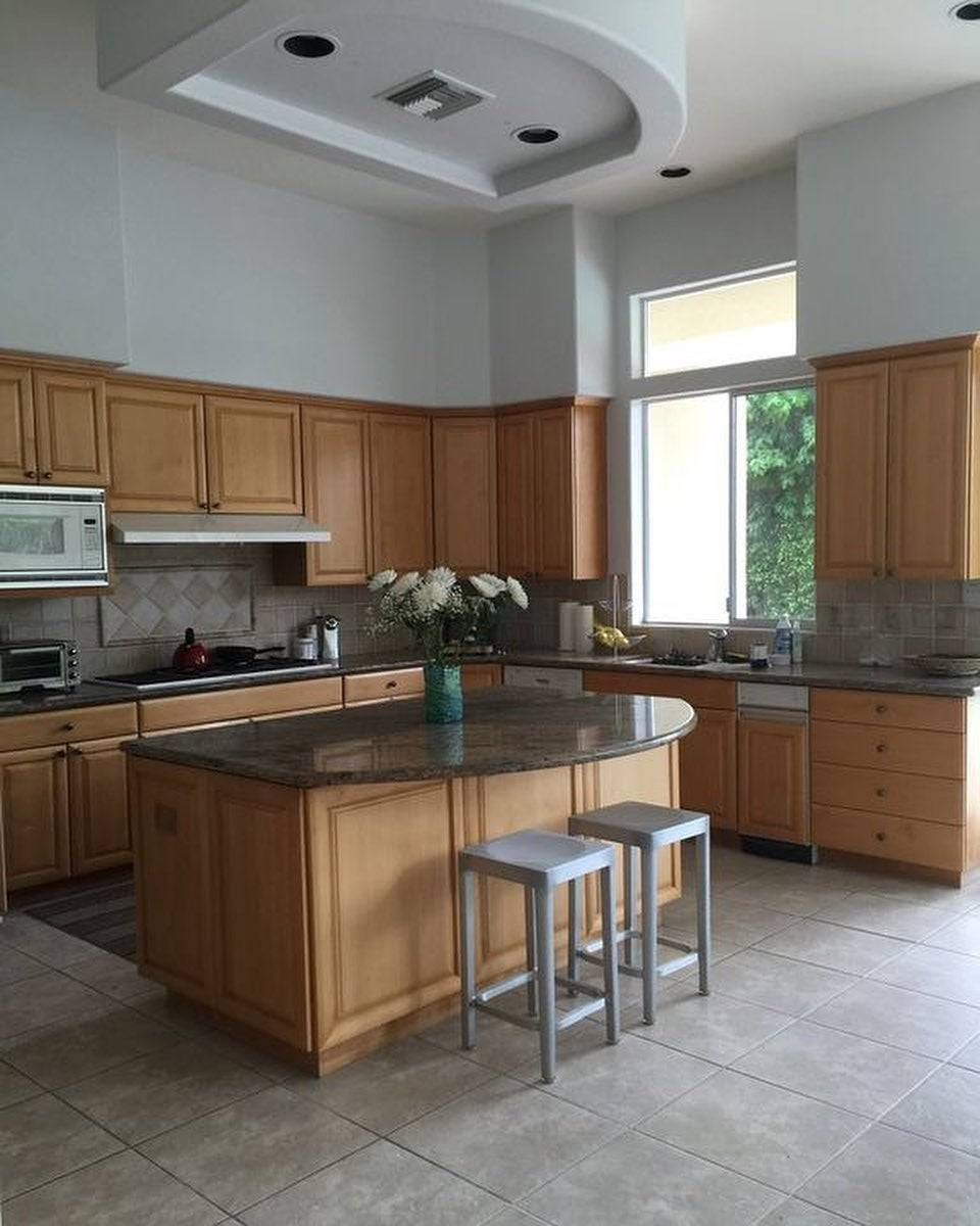 old kitchen with wood cabinets
