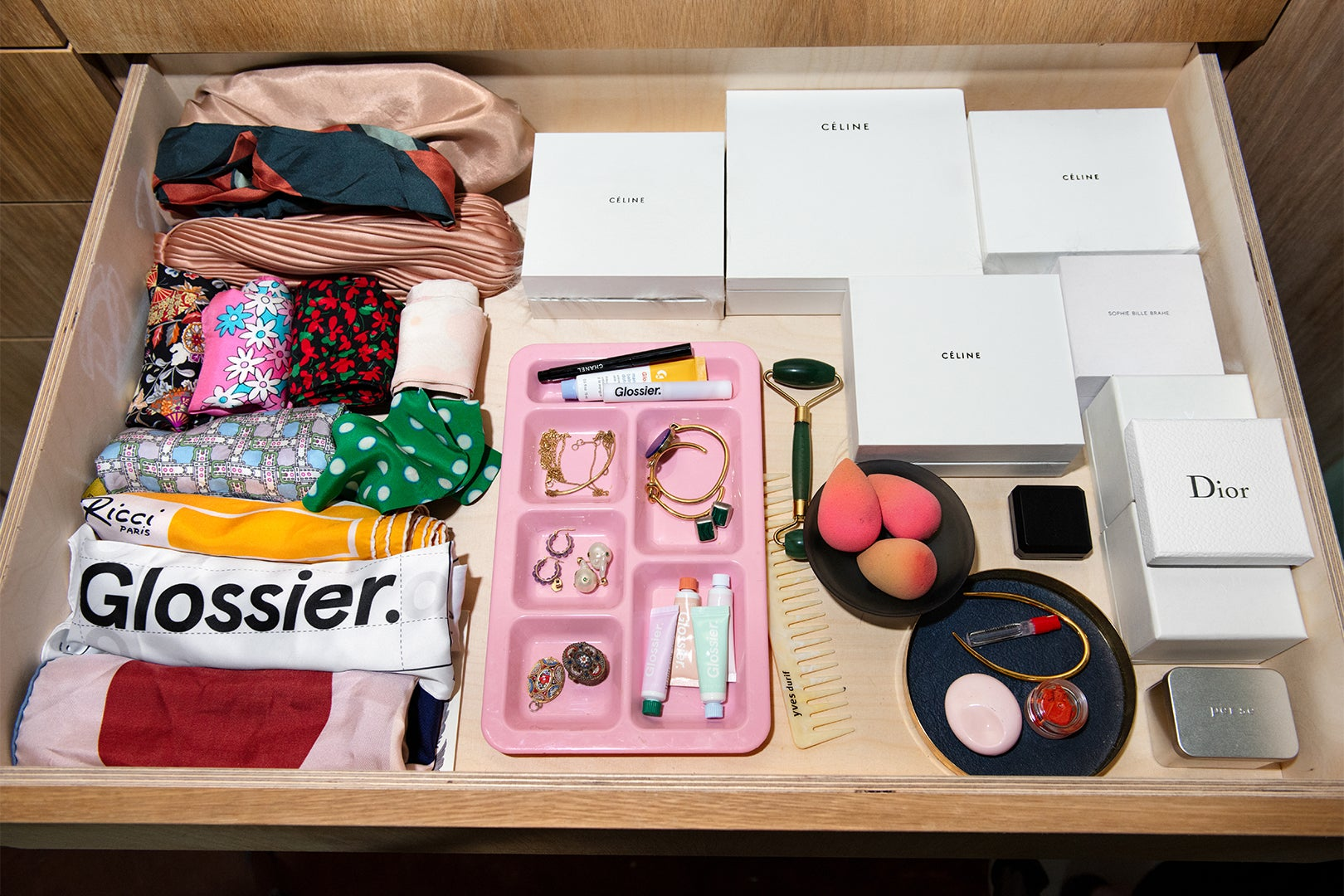Assorted accessories in drawer
