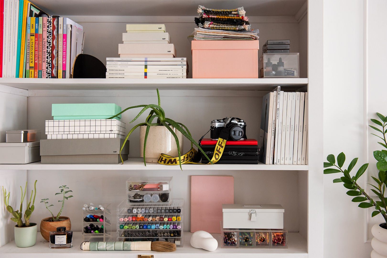 Shelves with assorted boxes