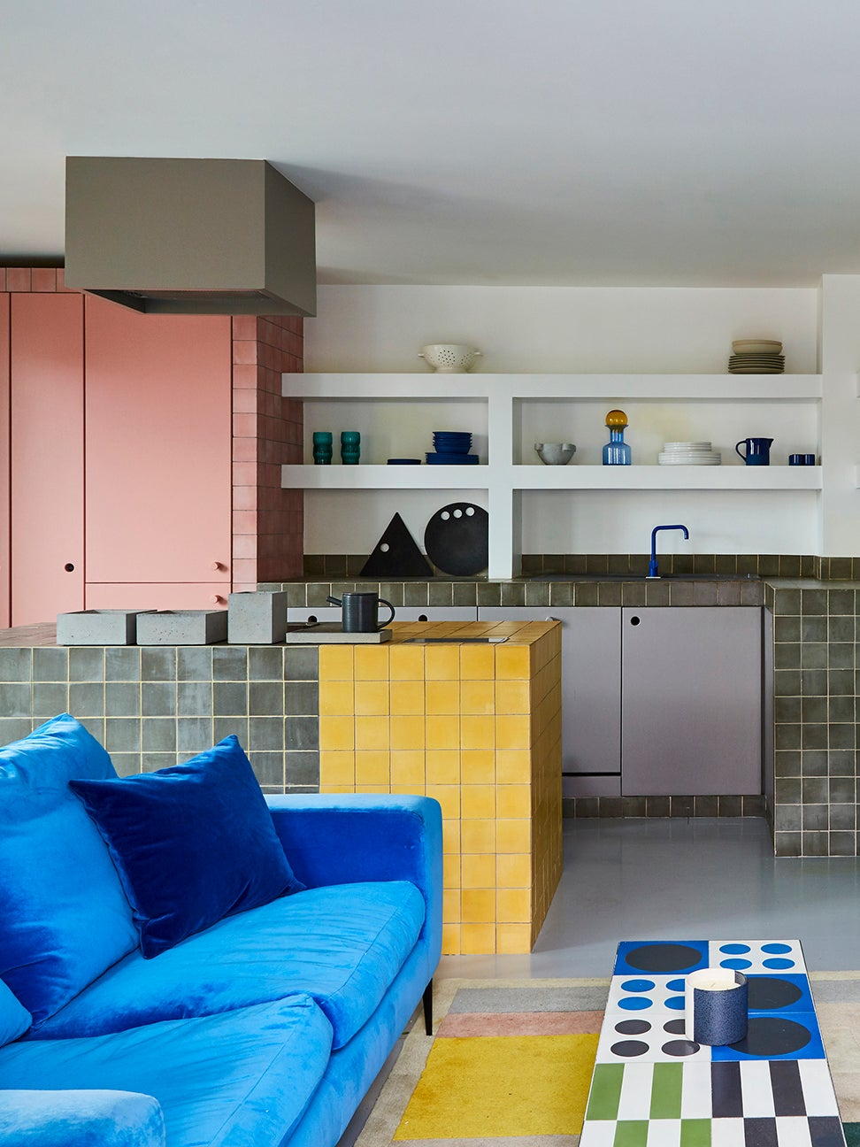 pink yellow and blue kitchen