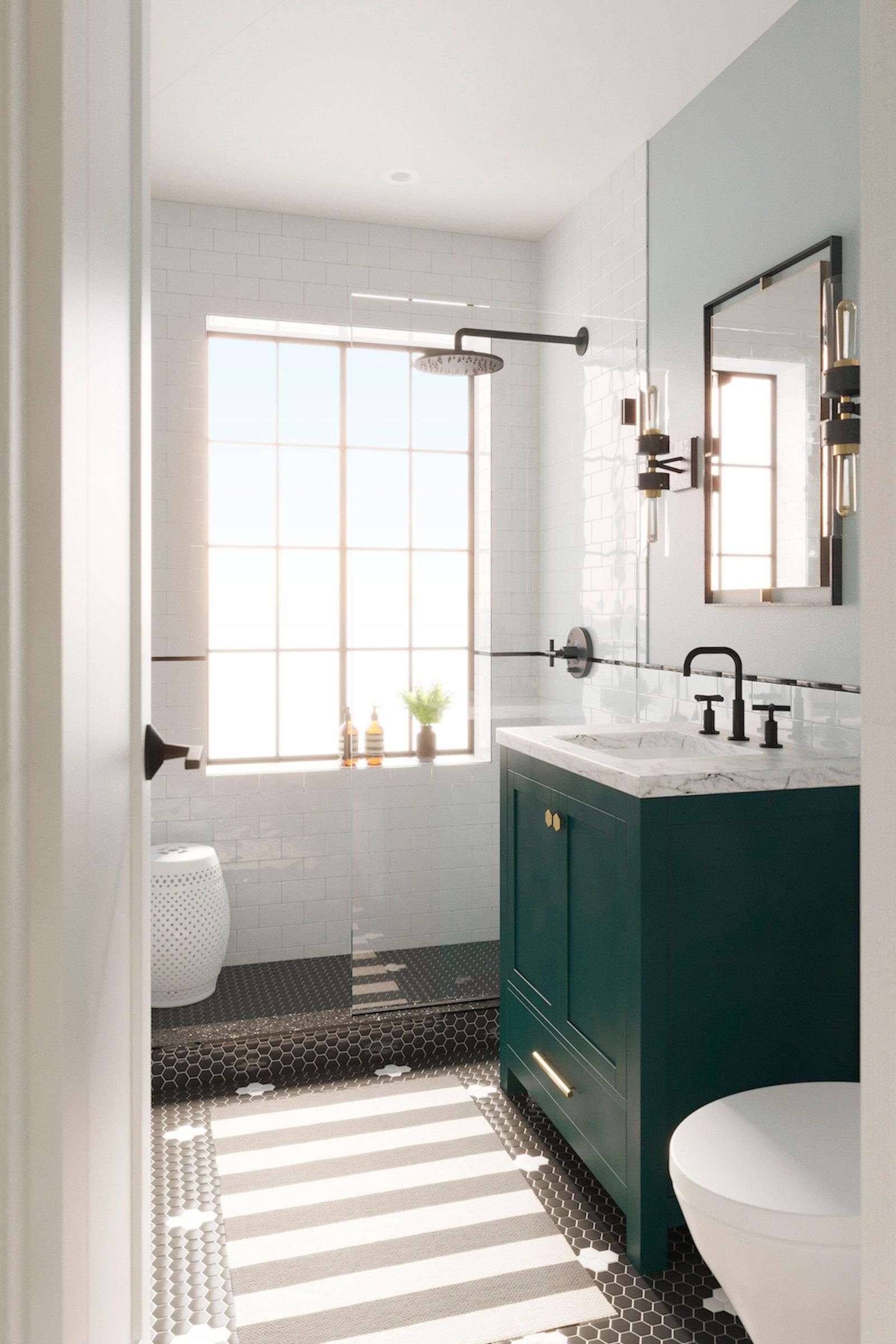 blue bathroom with black shower floor