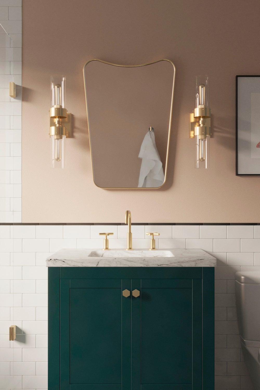 pink bathroom walls with green vanity
