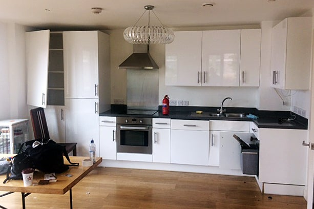 white kitchen with laminate cabinets