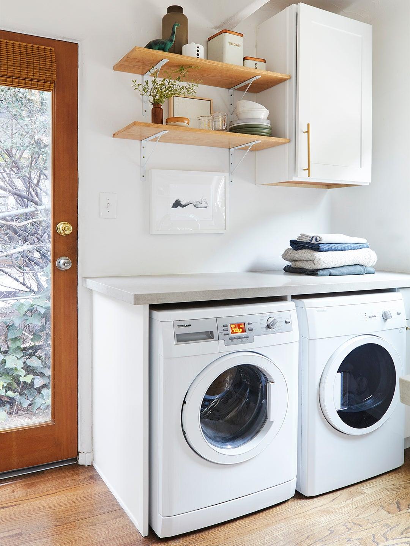 white laundry machines