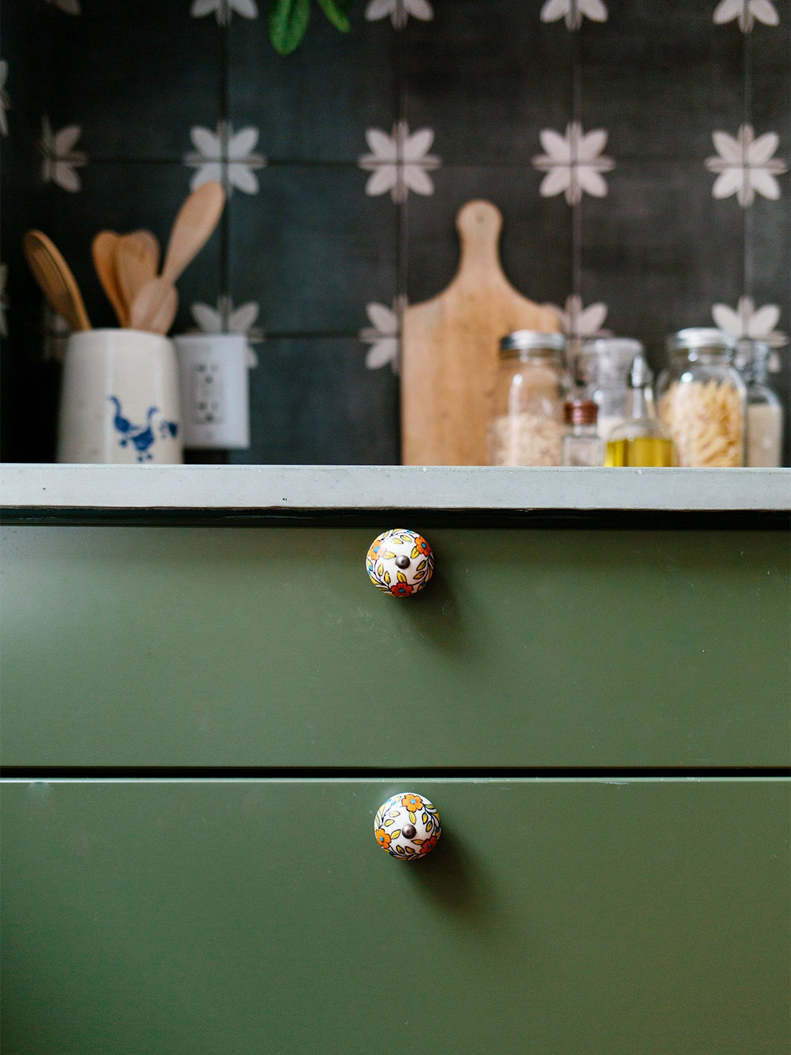 close up floral knobs