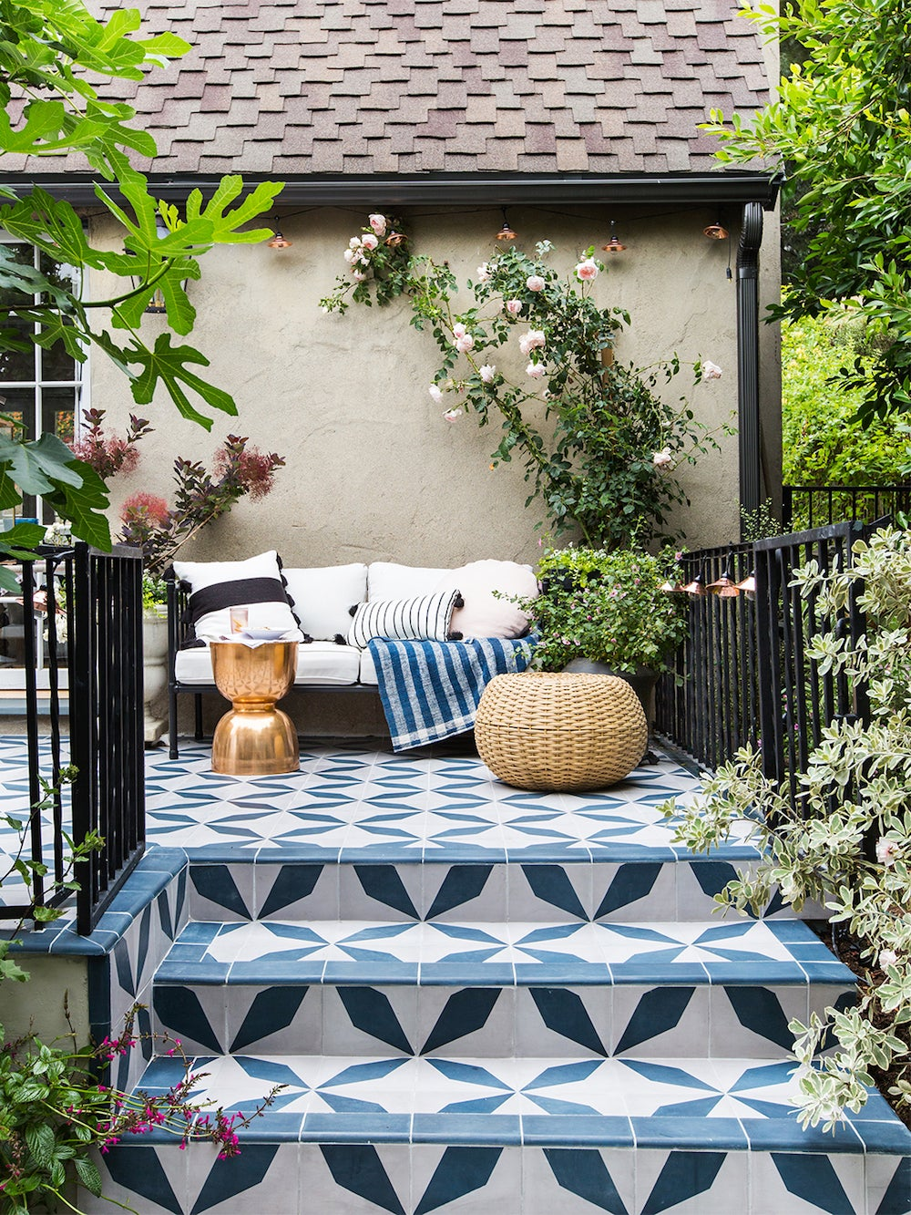 blue and white tiled patio