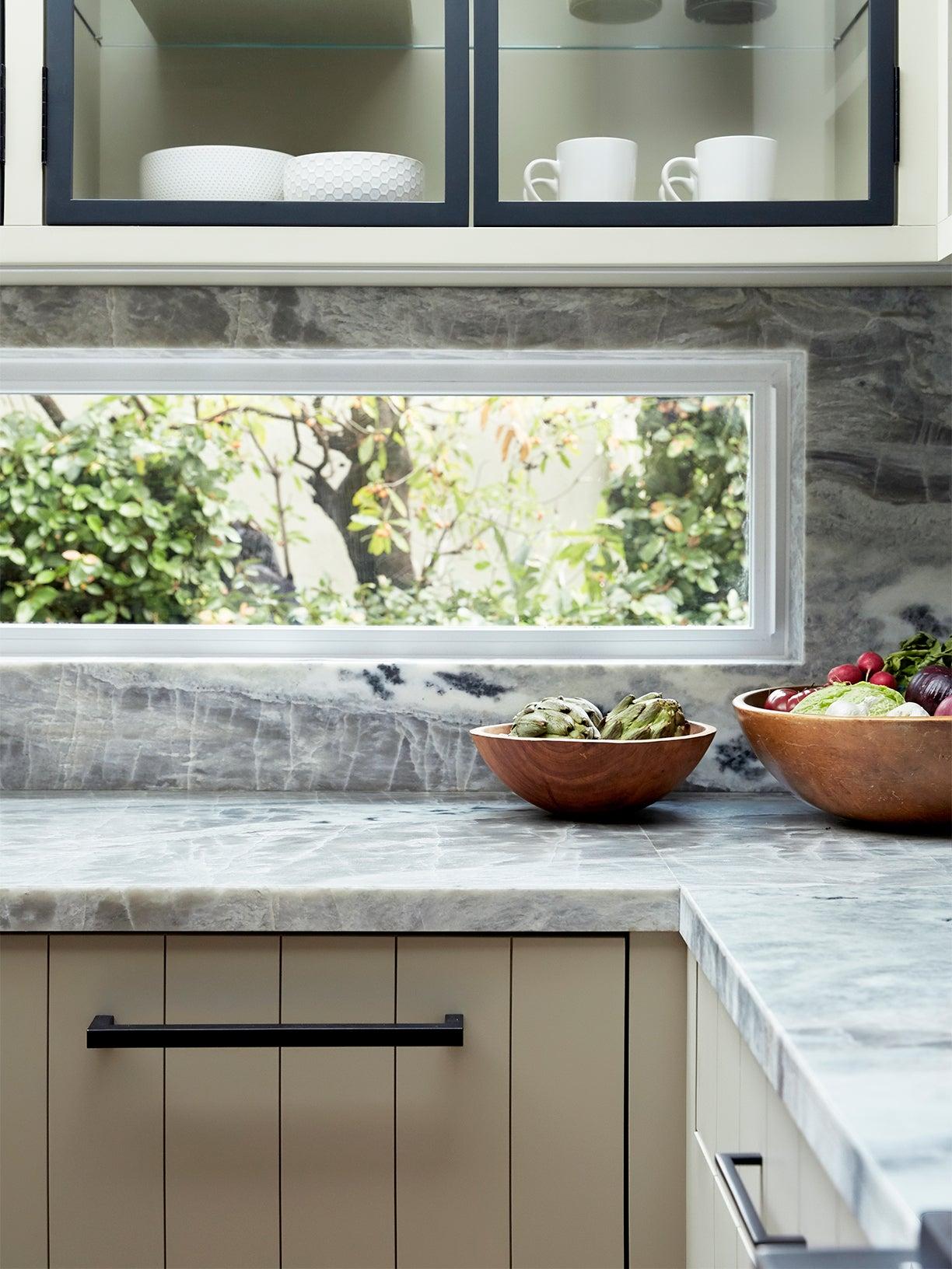 Kitchen With Backsplash Window Cutout