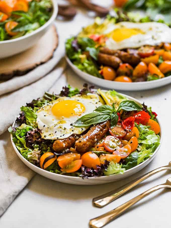 Salad with egg on top