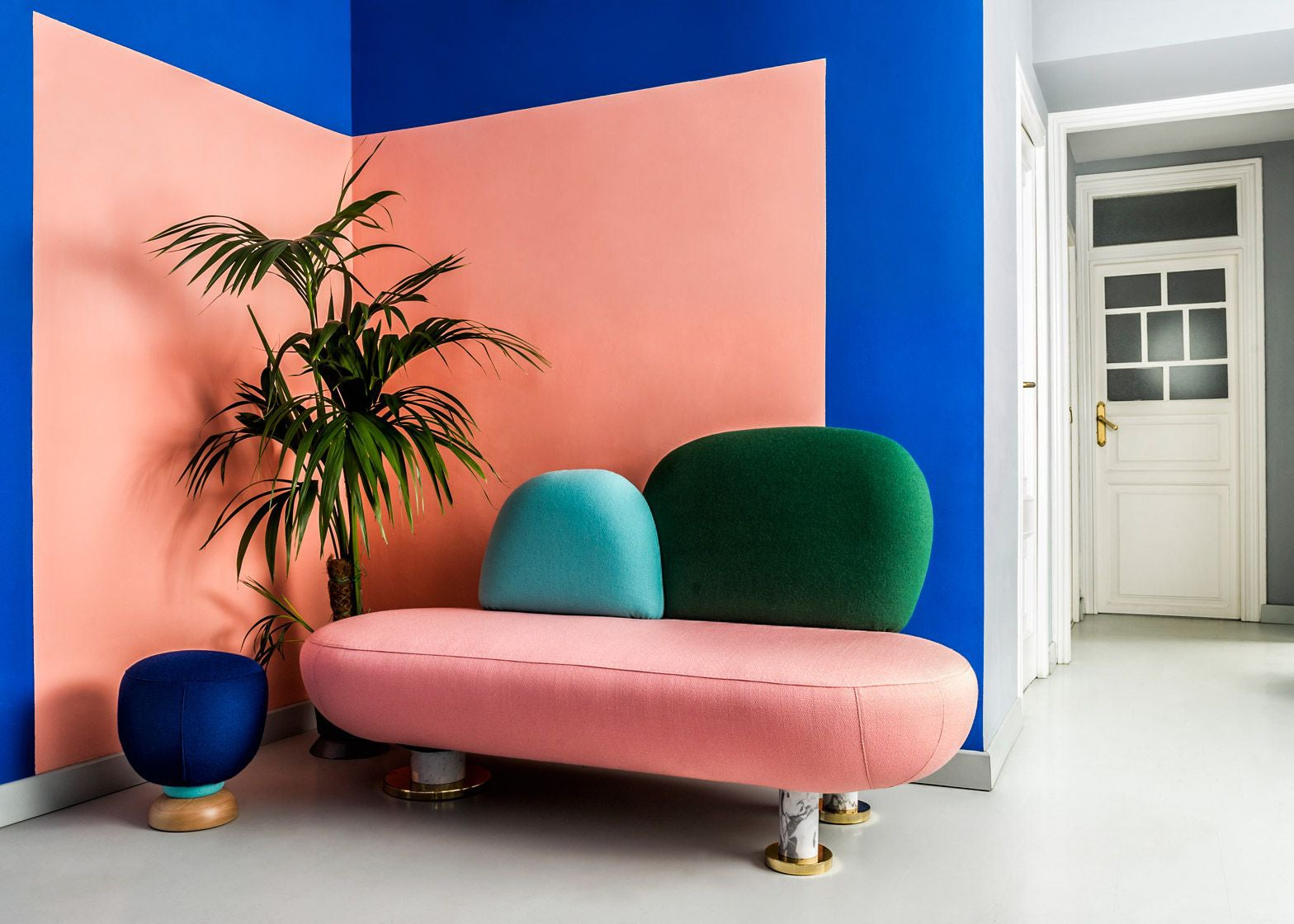 Graphic pink and blue wall