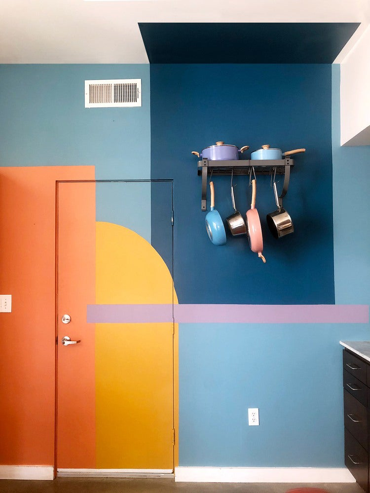 Rainbow colorblocked wall