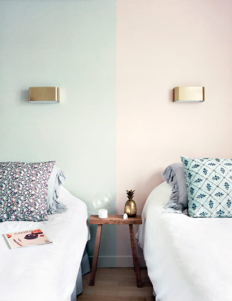 Blue and pink colorblocked bedroom