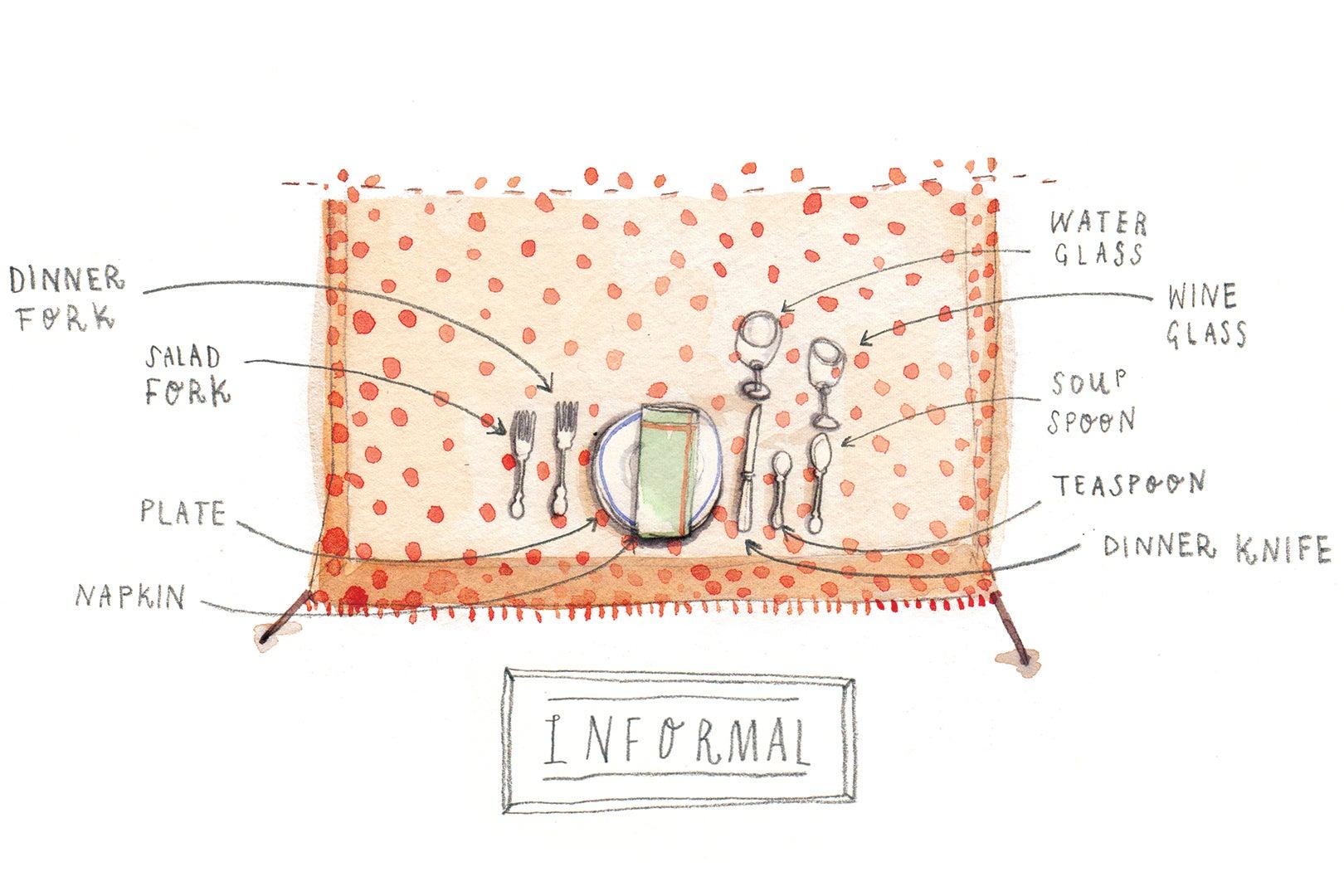 informal table setting illustration