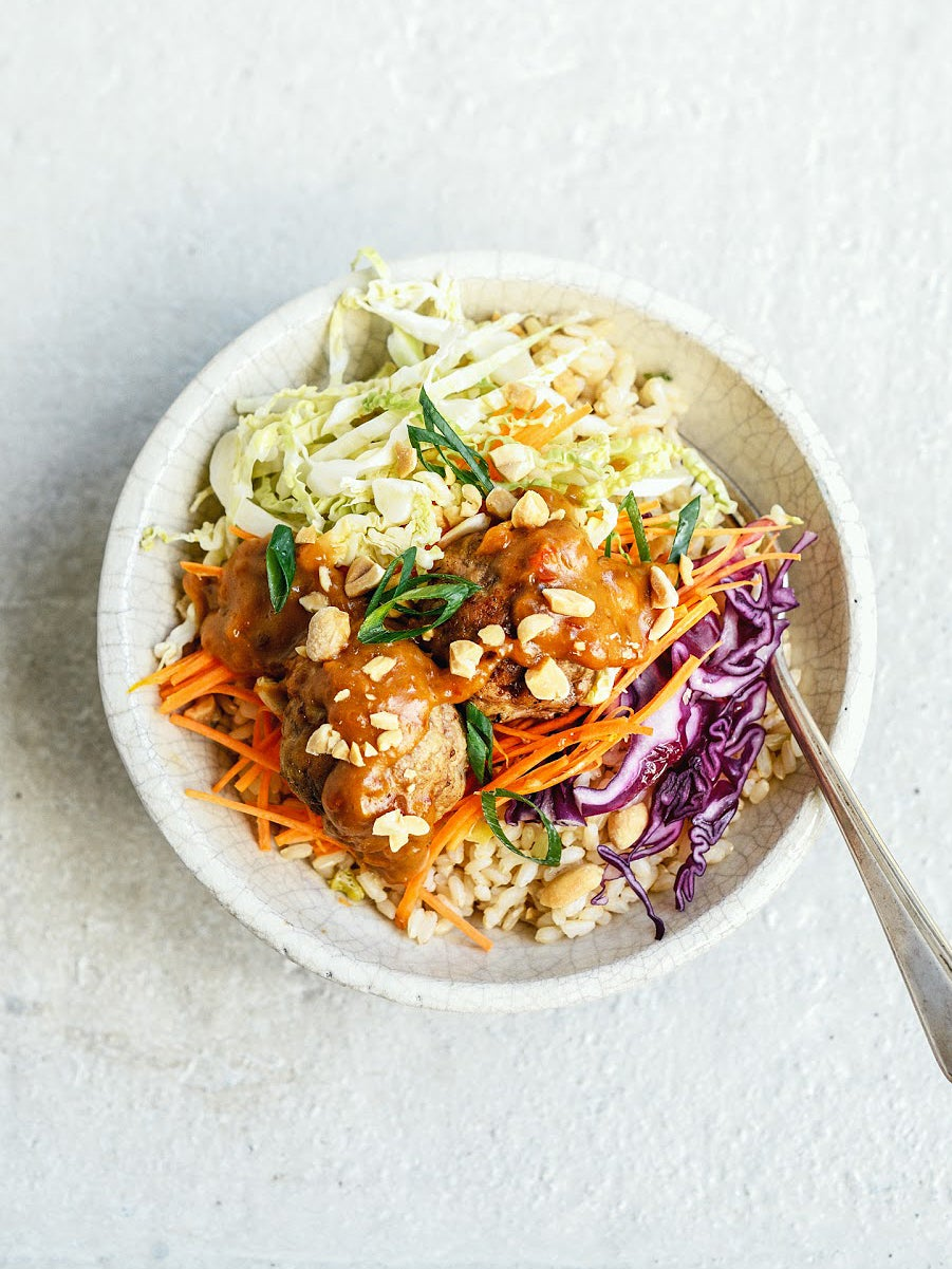 Meatballs with Asian slaw