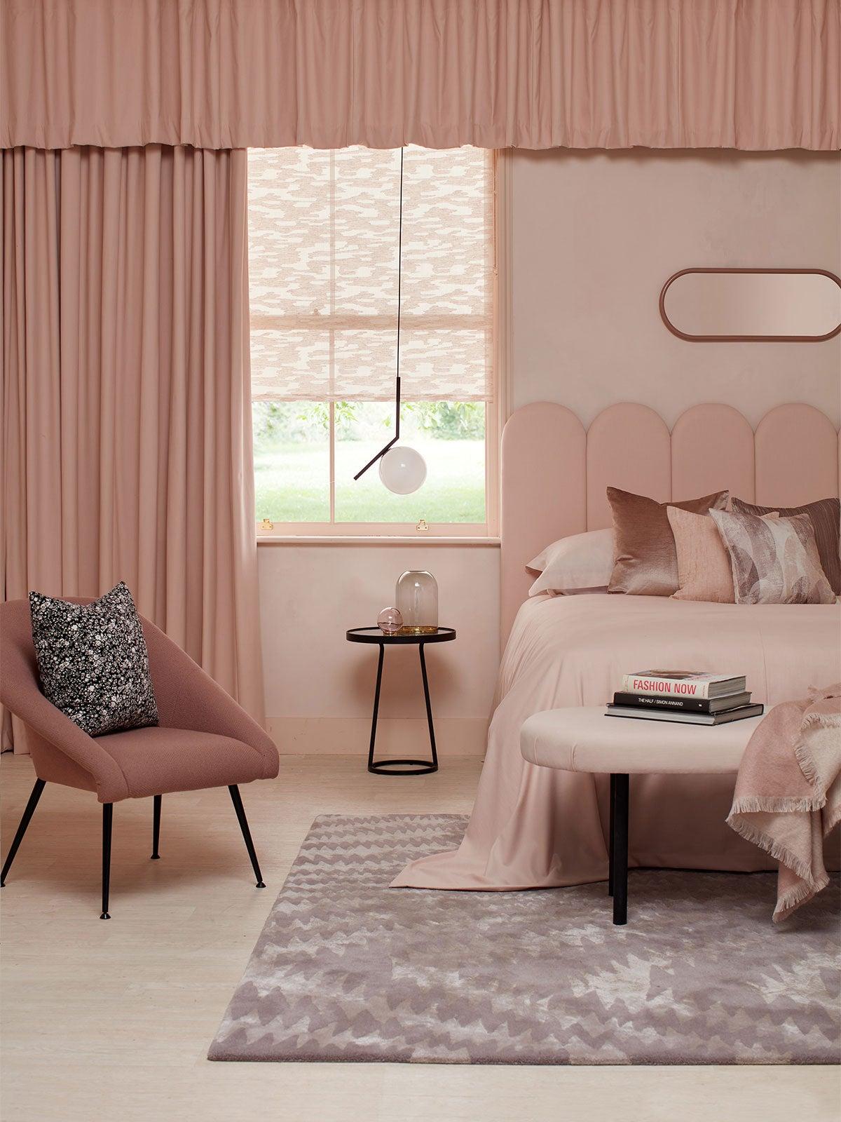 monochrome pink bedroom