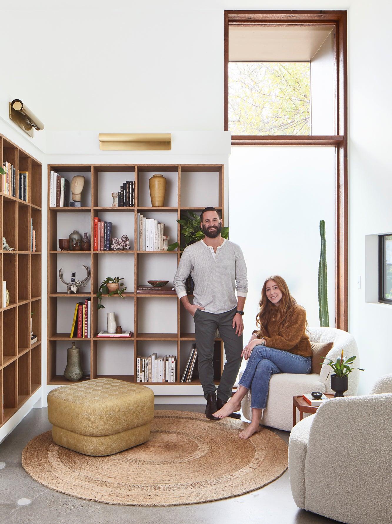 Austin couple in living room