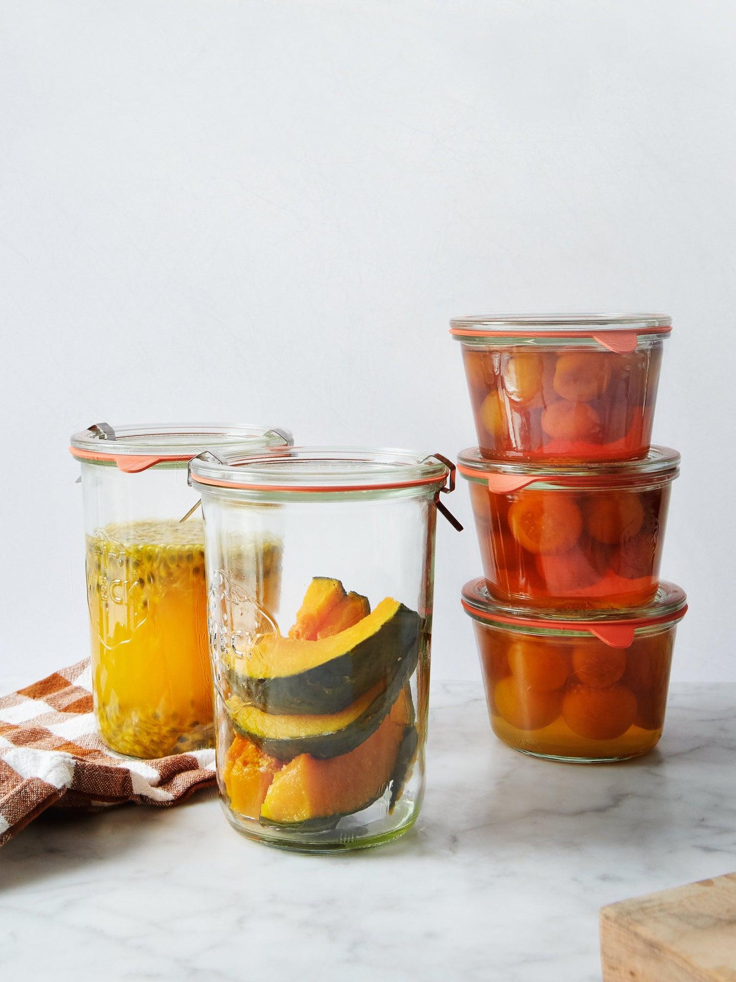 Assorted foods in jars