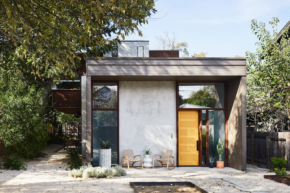 Modern backyard with bocce court