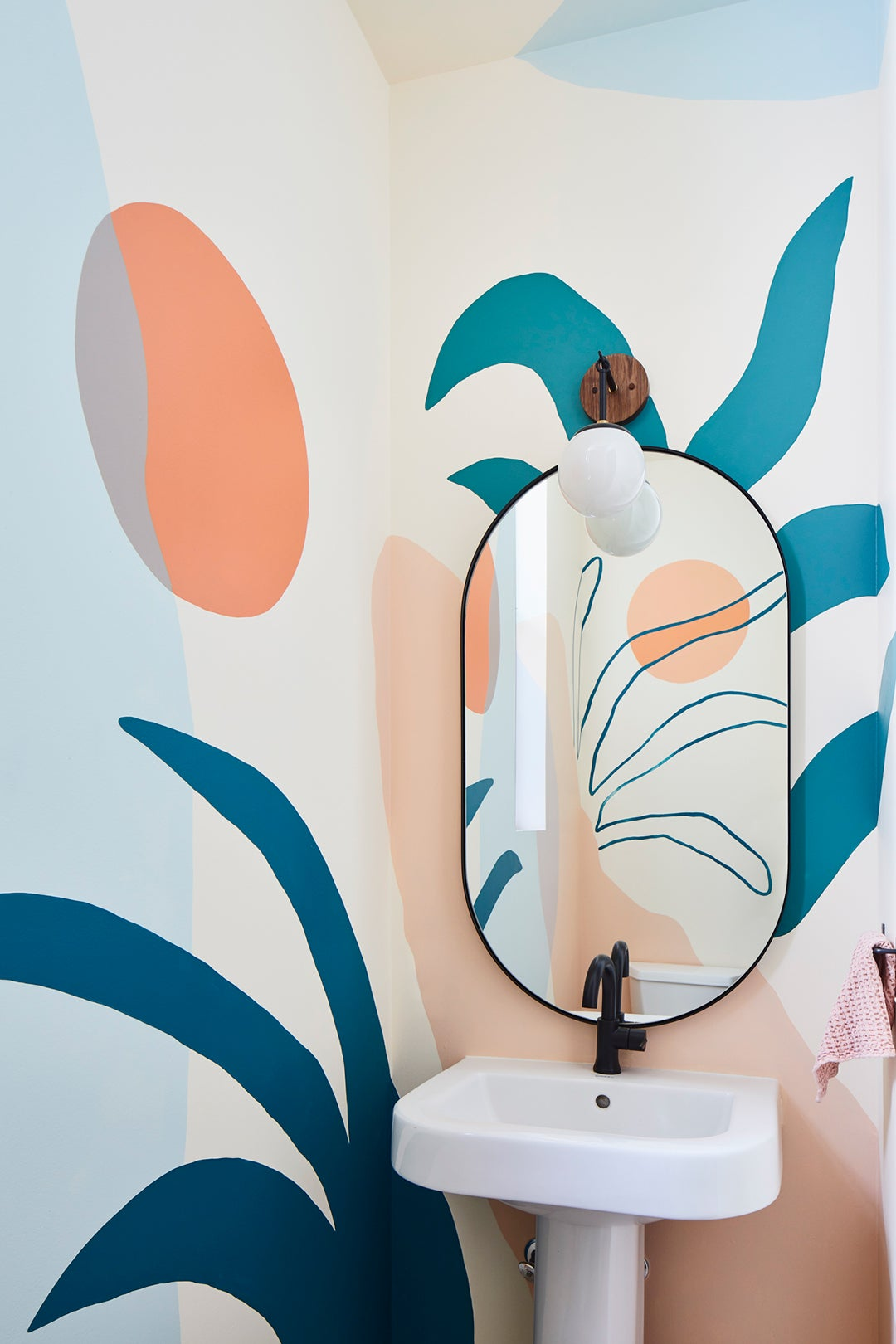 Powder room with handpainted mural