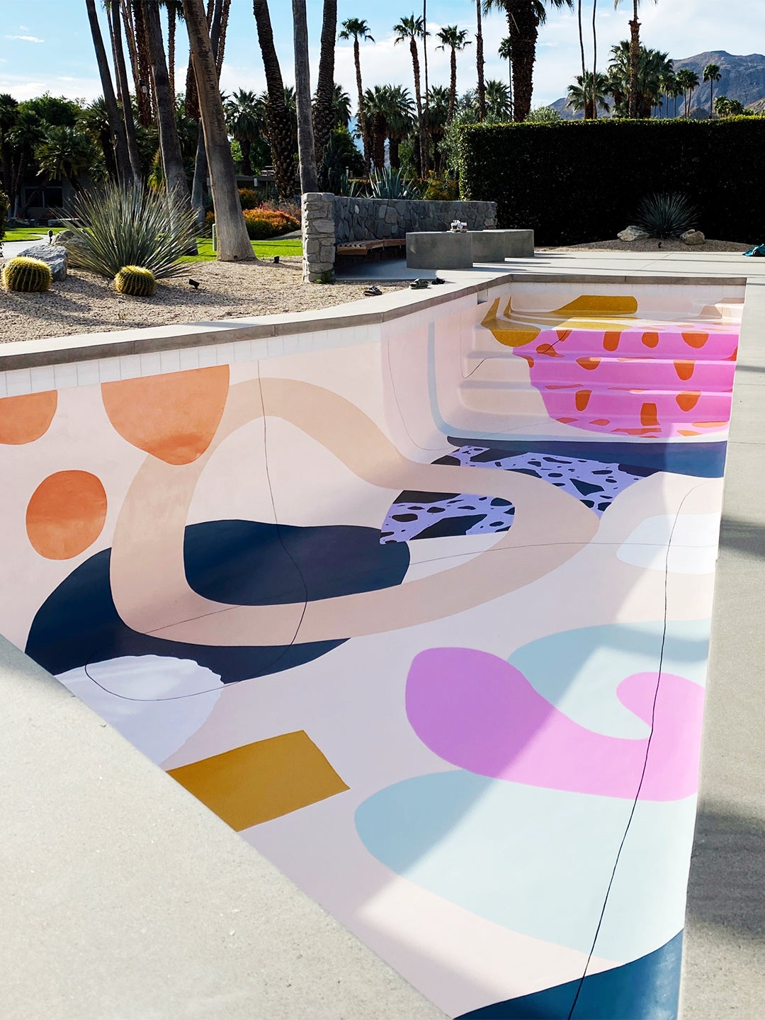pool with colorful shapes