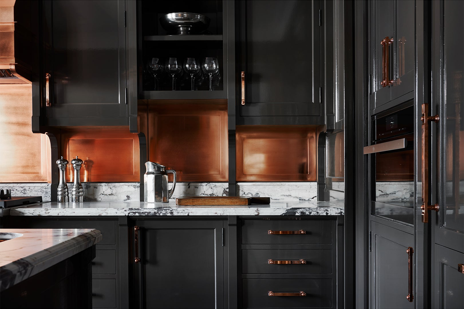 High gloss charcoal kitchen cabinets