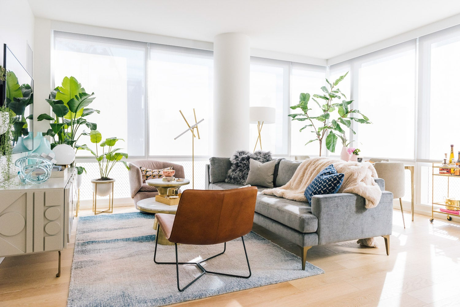 apartemtn living room with gray sofa