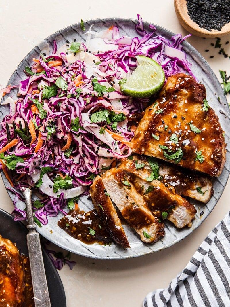 glazed pork chops with radicchio salad