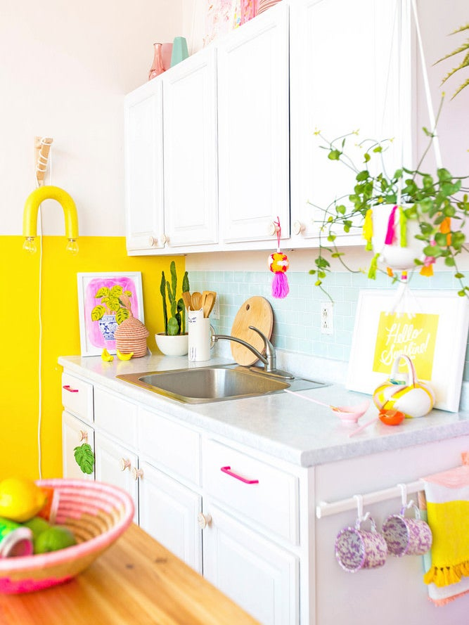 pink and blue kitchen