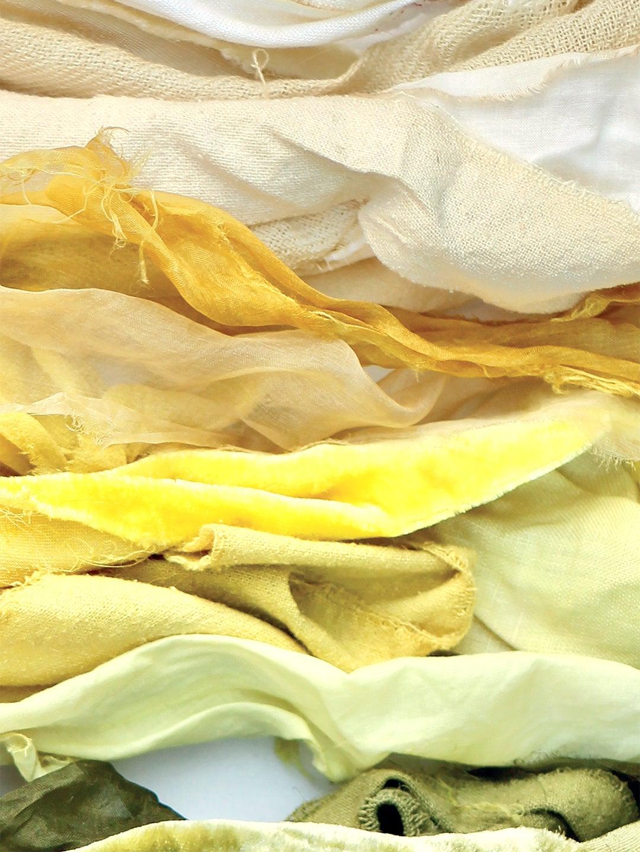 Pale yellow and light green fabrics