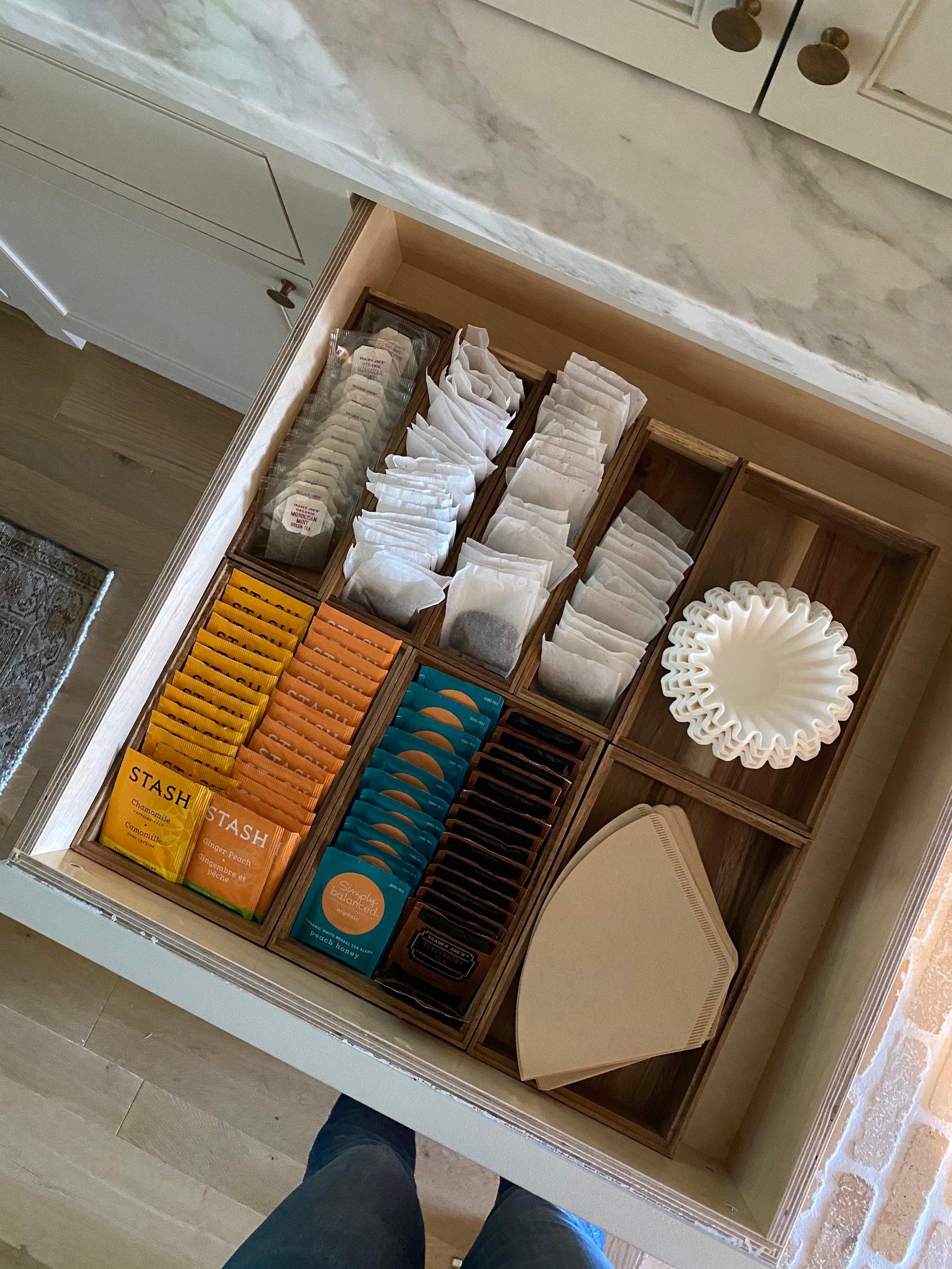 tea and coffee station drawer