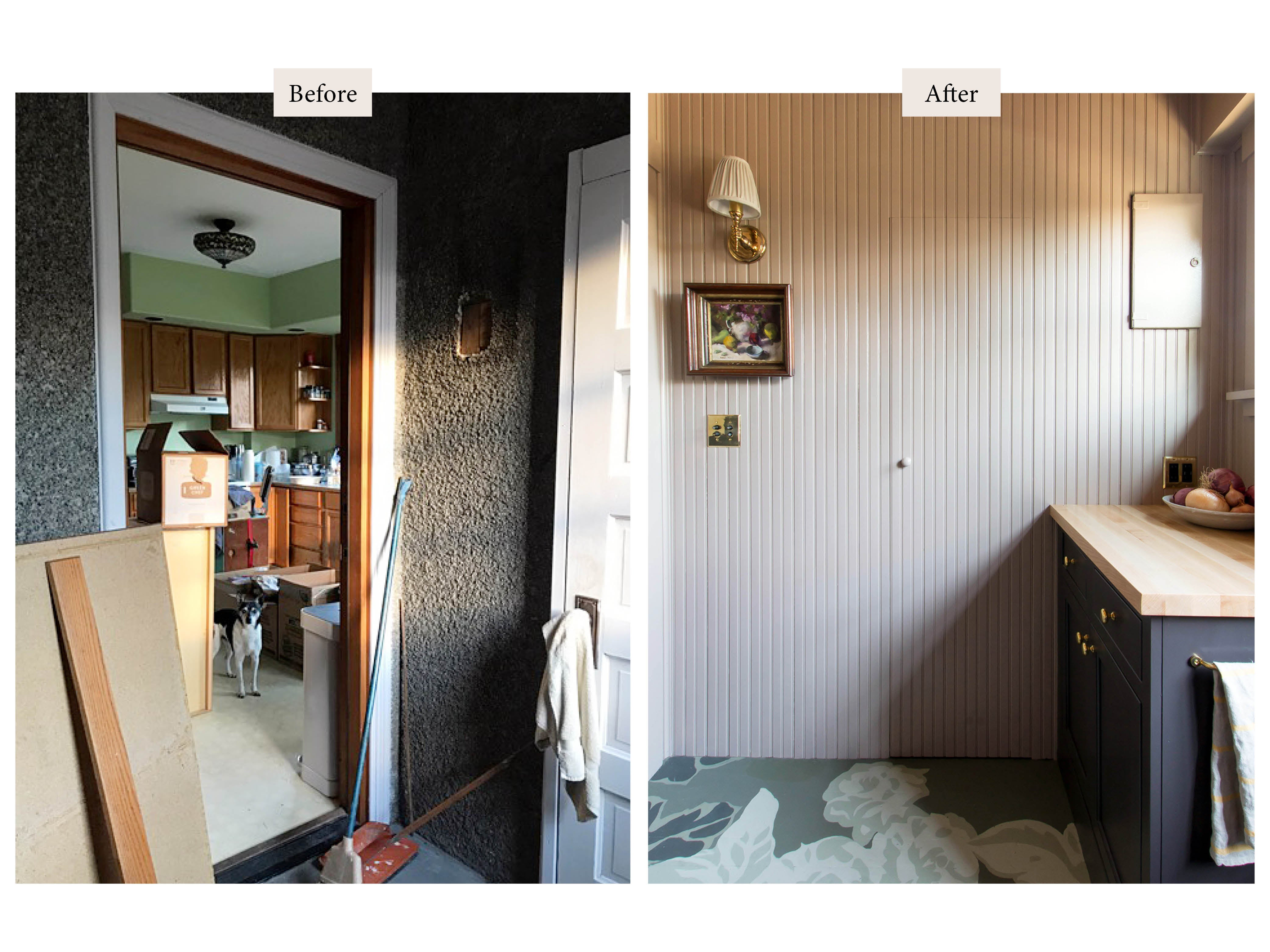 before and after of pink room