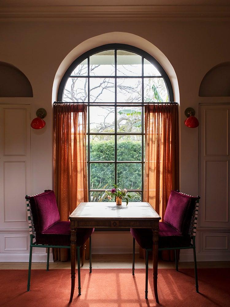 Rose linen curtains
