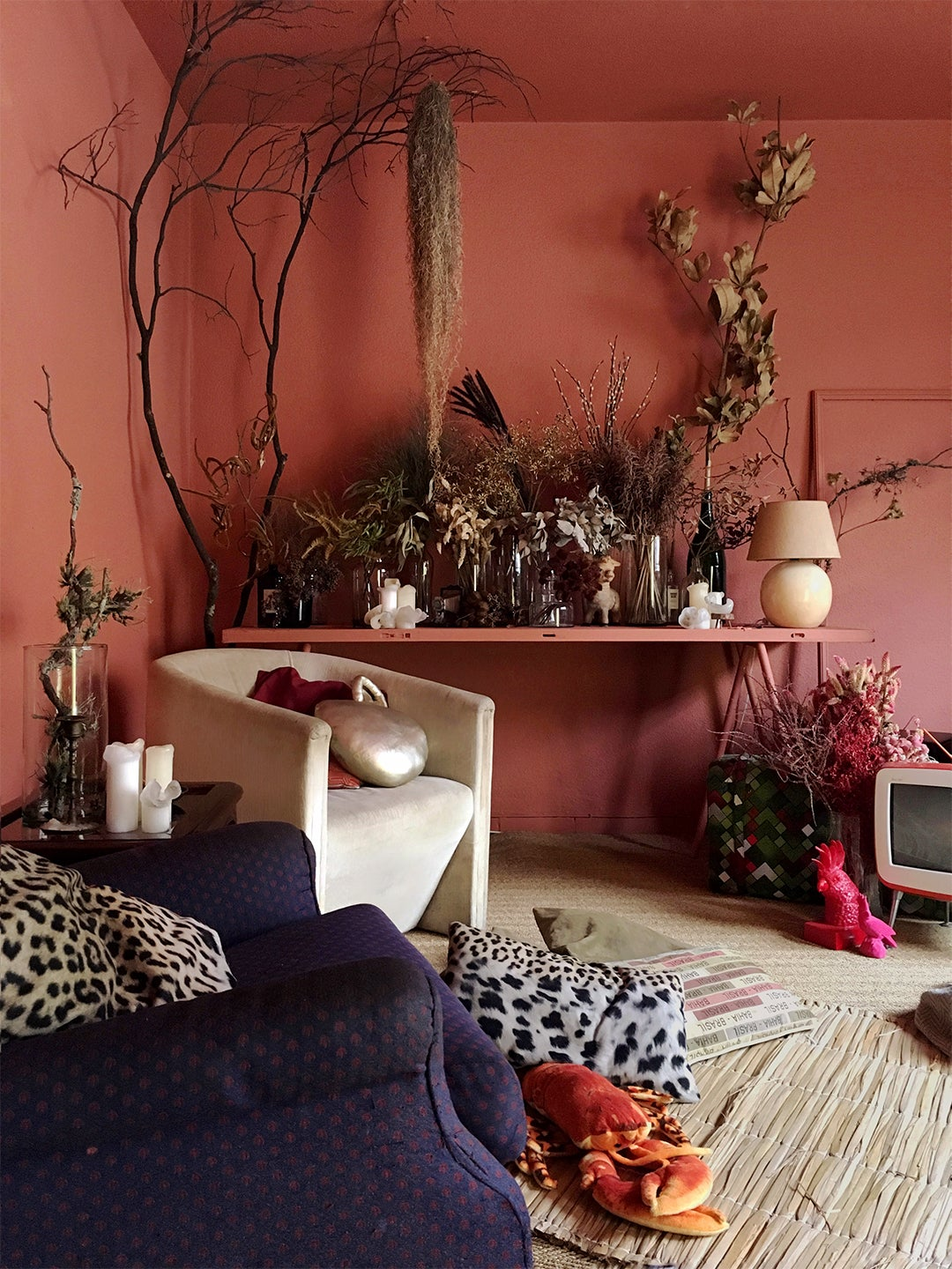 salmon colored living room