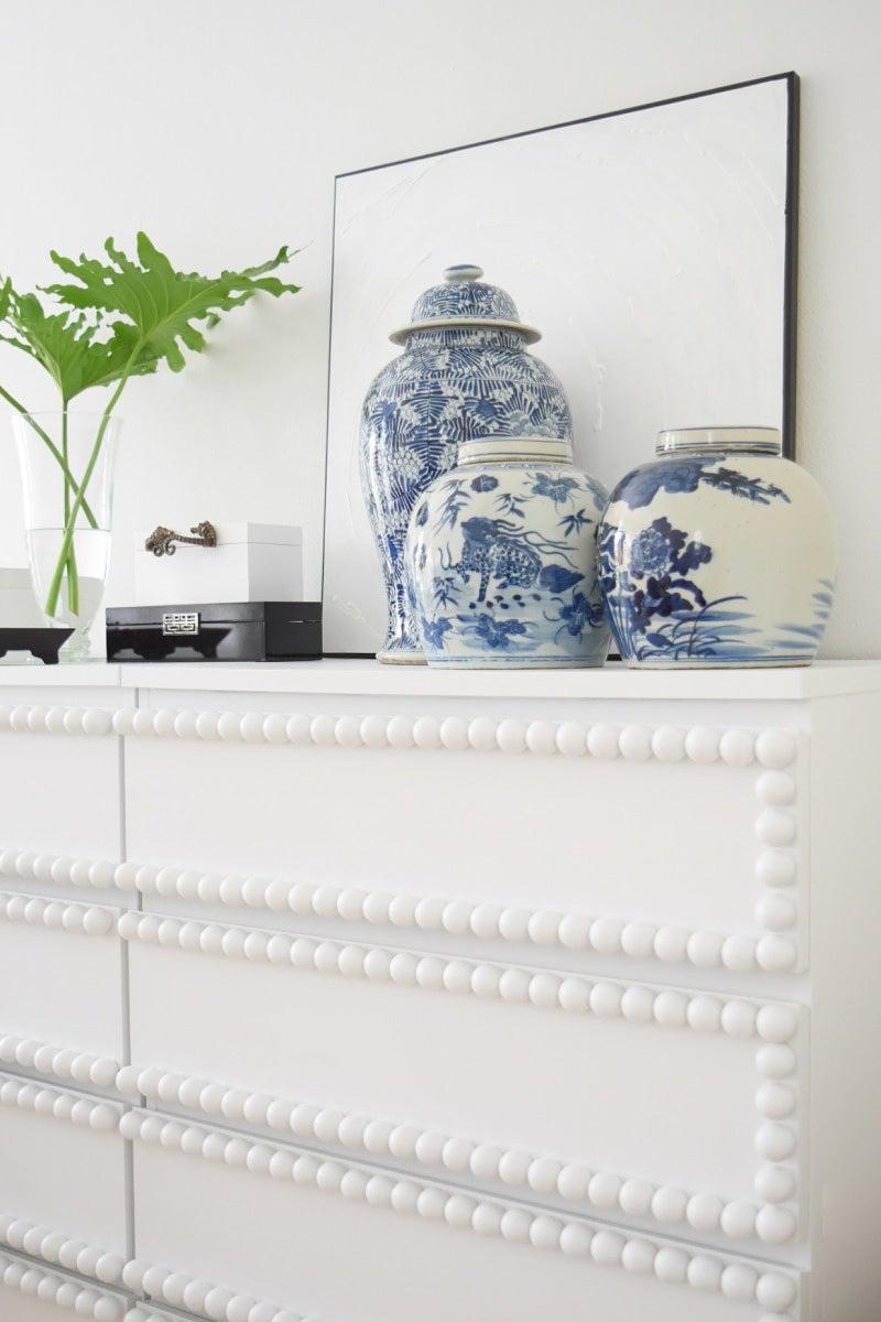 white dresser with textured edges
