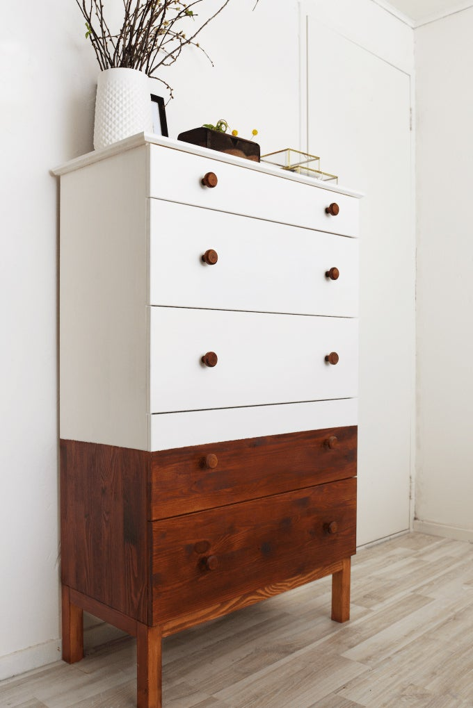 brown and white dresser