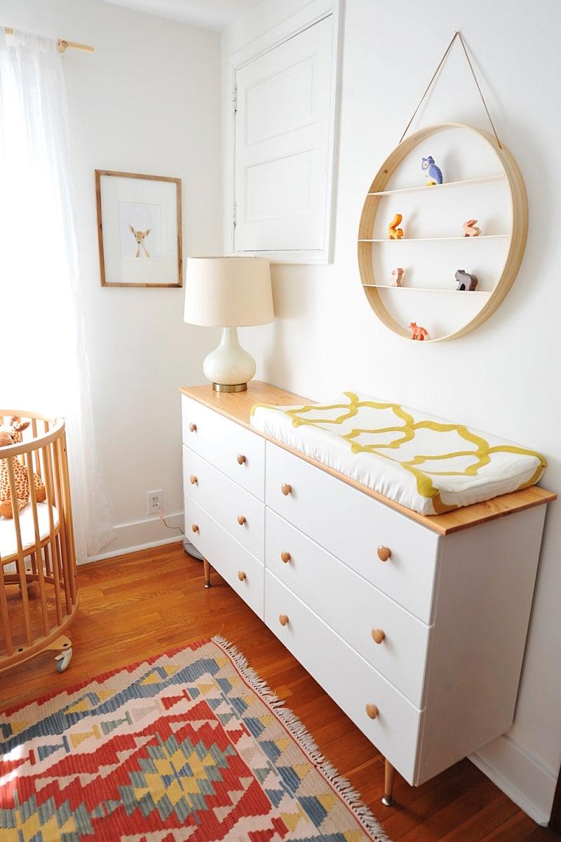 white dresser in a nursery