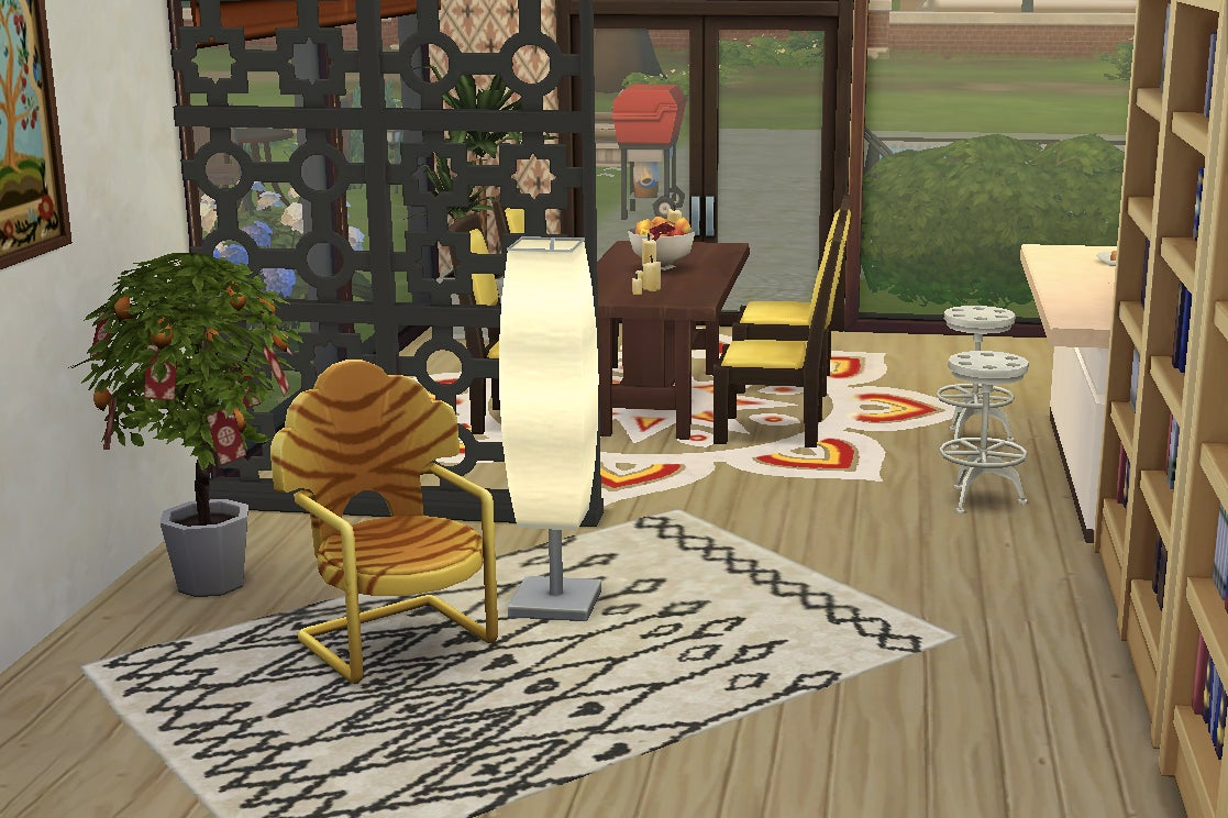 Corner with chair and lamp in The Sims