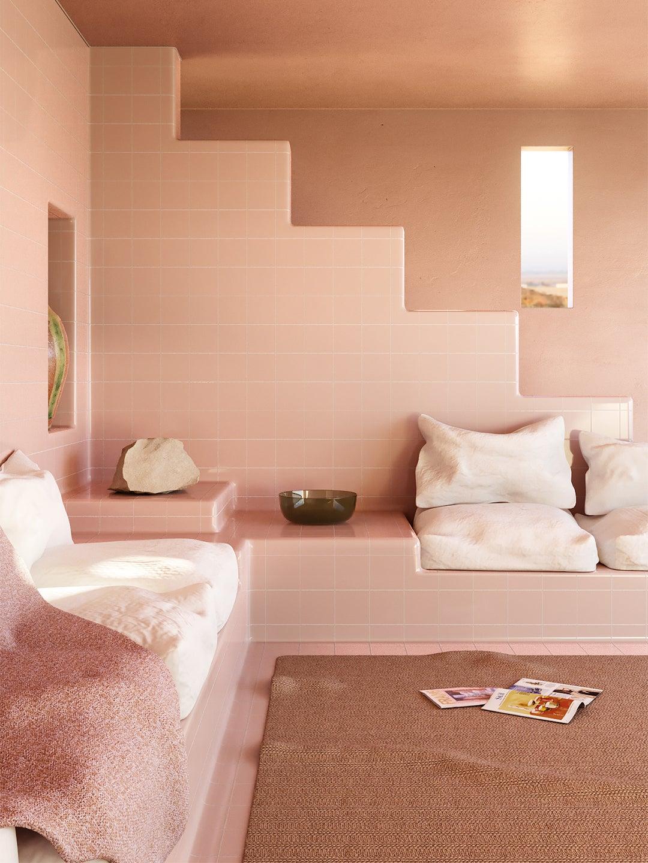 pink tiled sitting room