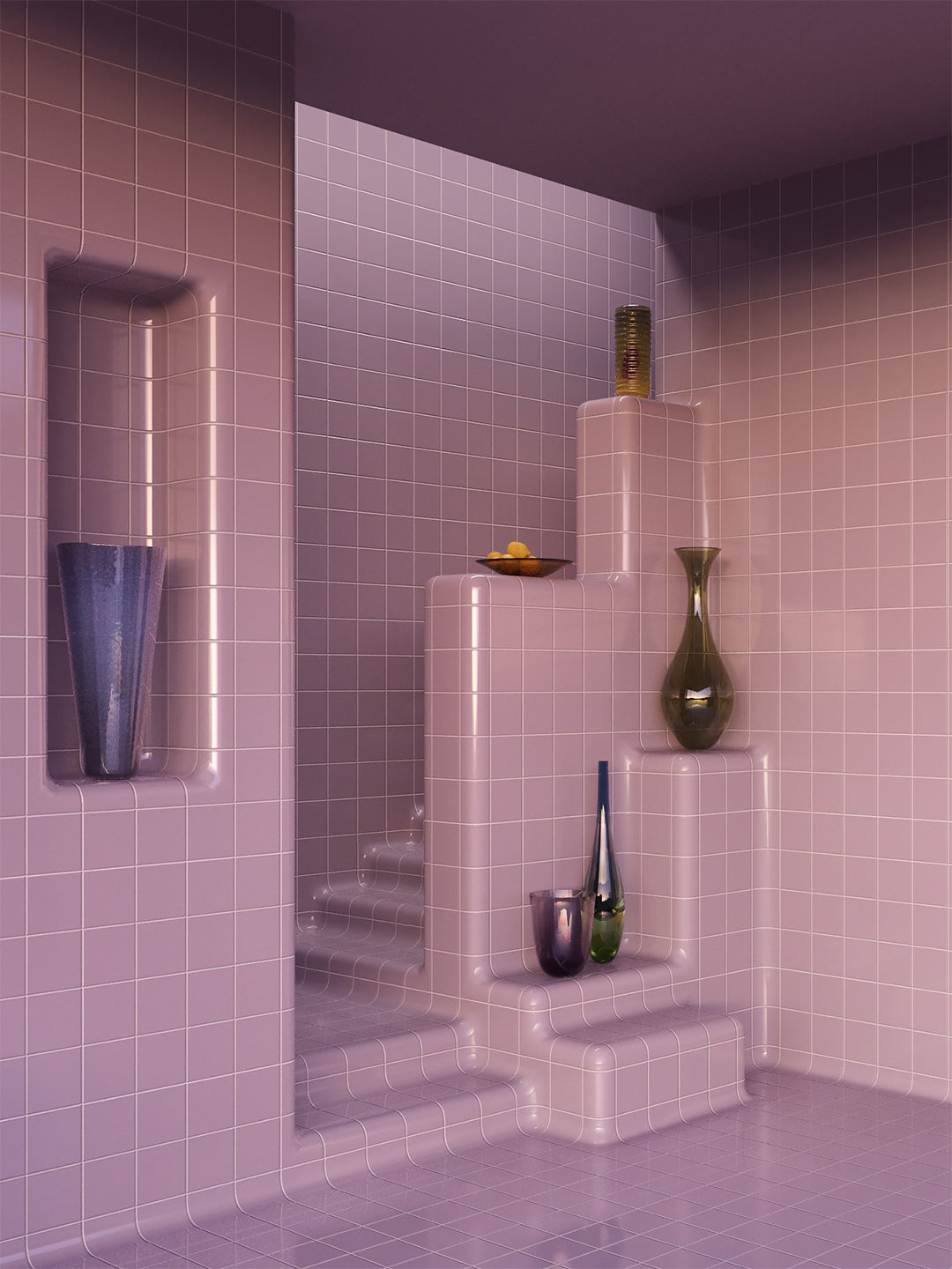 purple tiled staircase