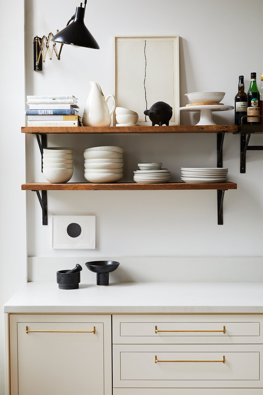 white cabinets with open shelving