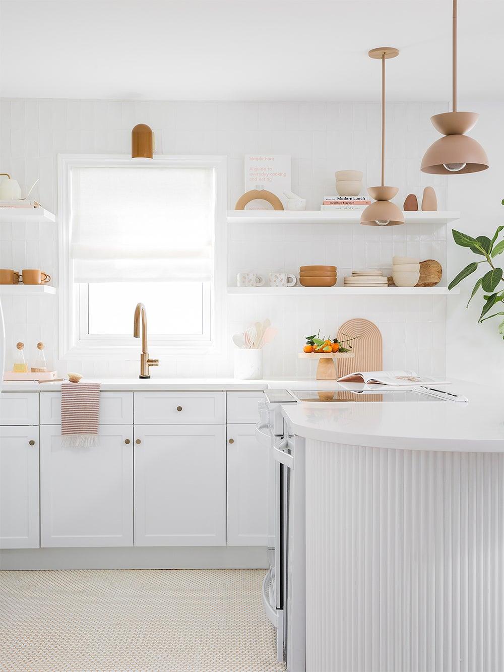 white kitchen with open shelves
