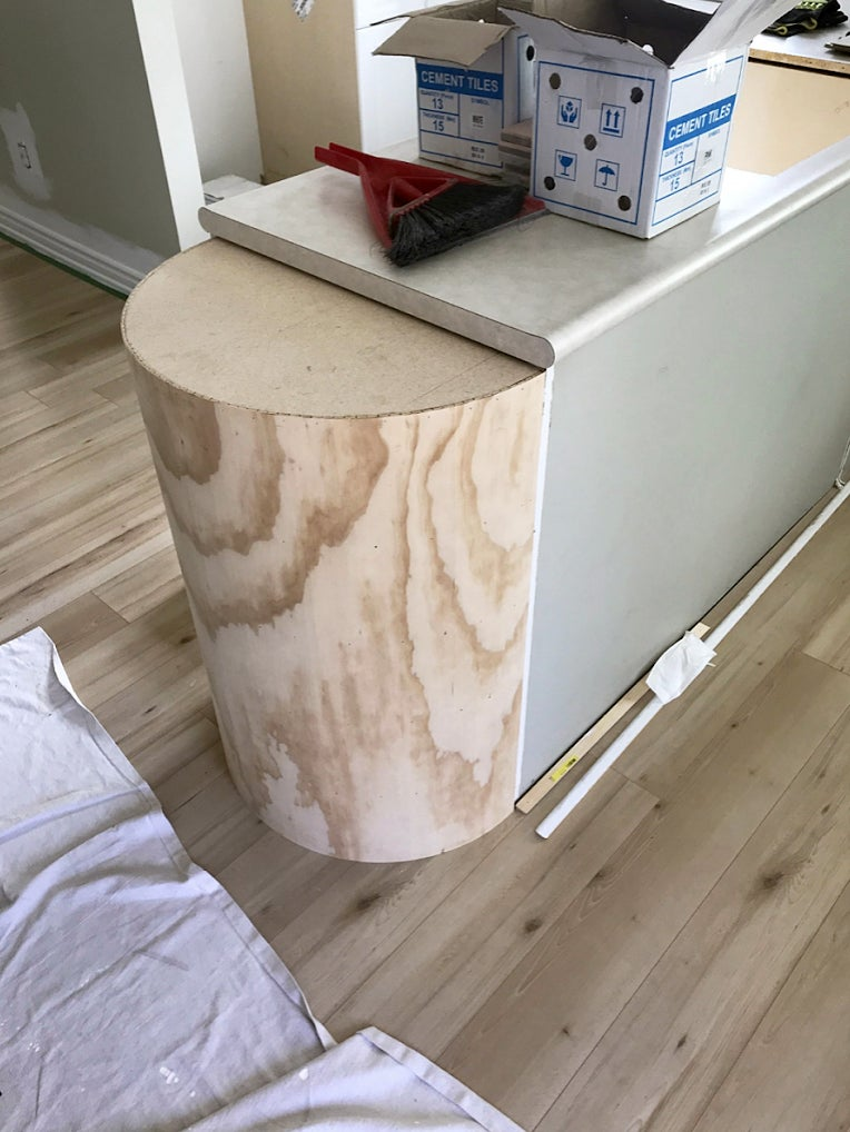 plywood rounded end of peninsula
