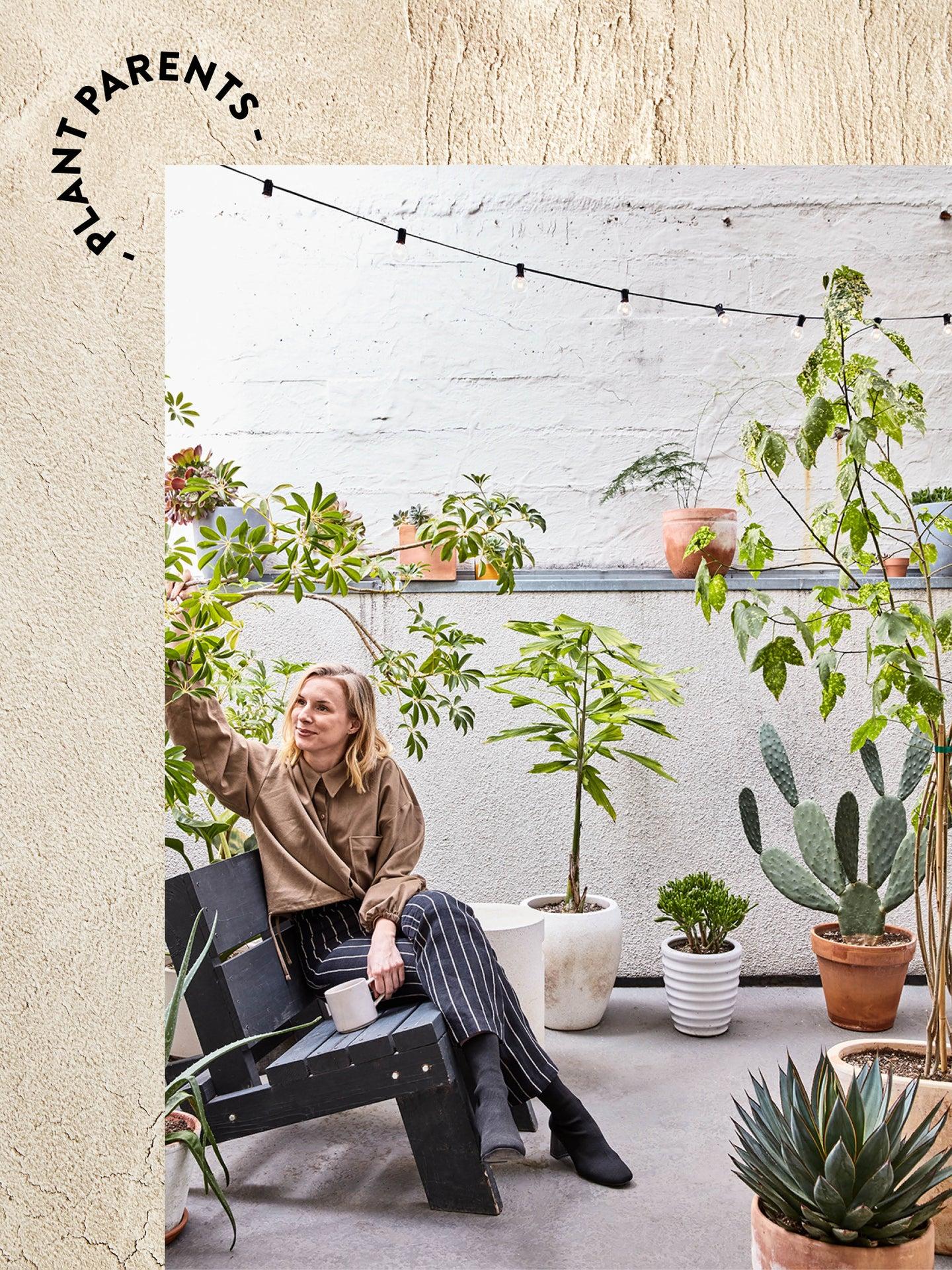 woman in a chair in an outdoor garden